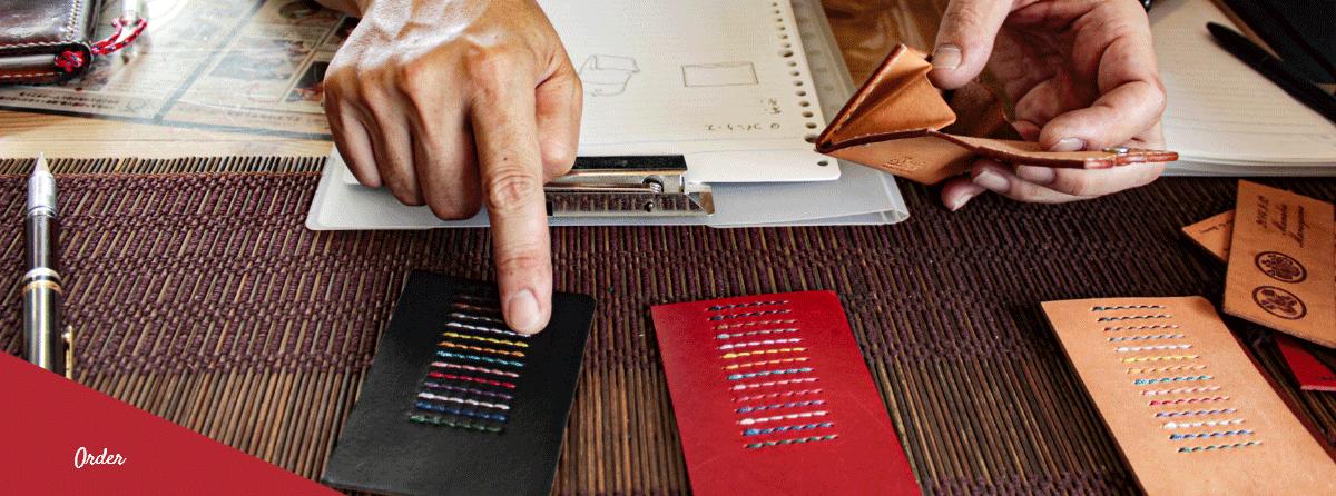 エムズクラフトで糸の色を選んでいる
